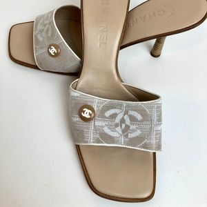Chanel CC Fabric Slide Sandals Womens 39.5 Beige